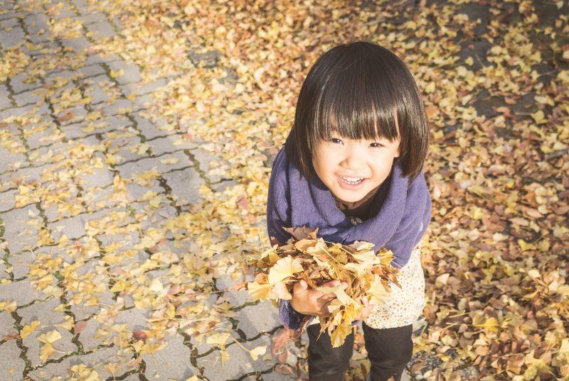 枯れ葉を持つ子供