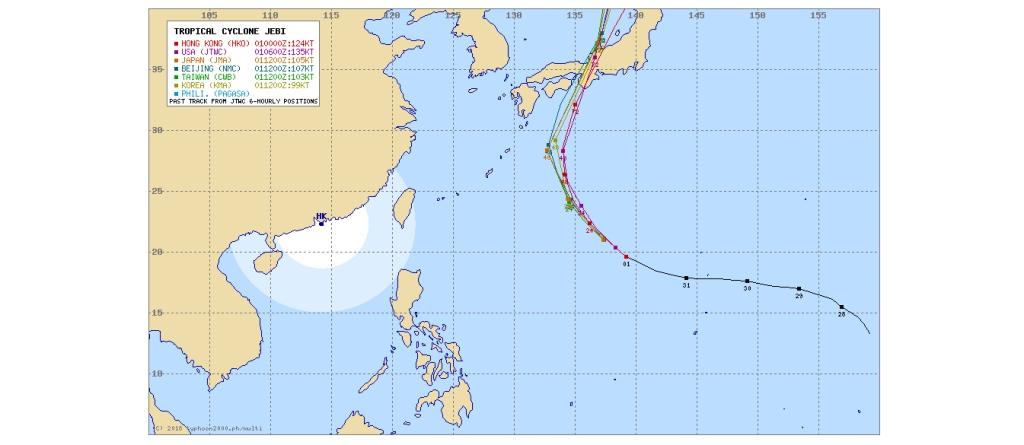 各国の台風の進路